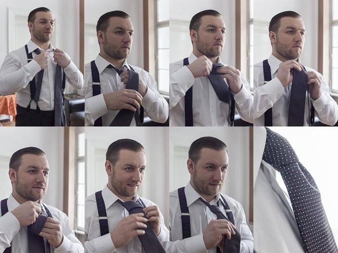 Tomasz Miler wiąże krawat