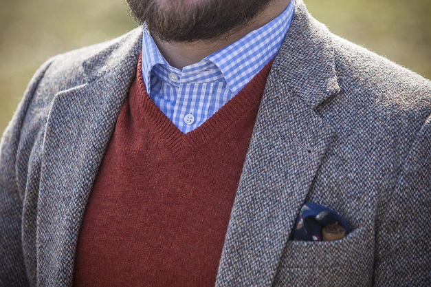 Tomasz Miler Harris Tweed Gingham Shirt Vneck Cigar