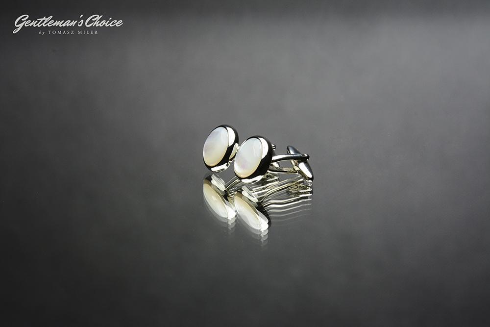srebrne spinki do mankietów z białym wypełnieniem