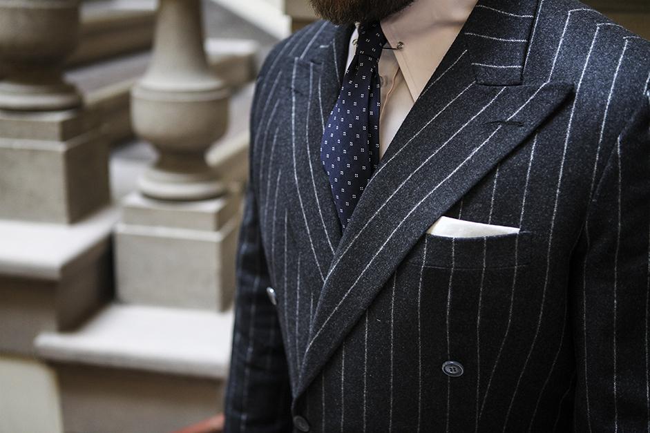 Power suit – flanelowa dwurzędówka chalkstripe MILER BESPOKE TAILORING