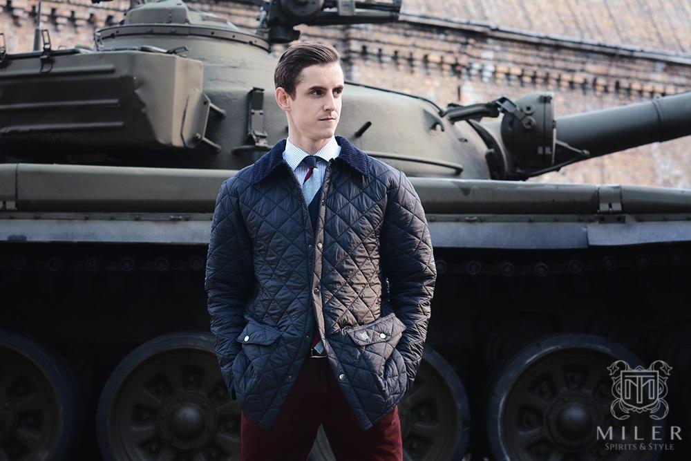 pikowana kurtka Miler w kolorze granatowym