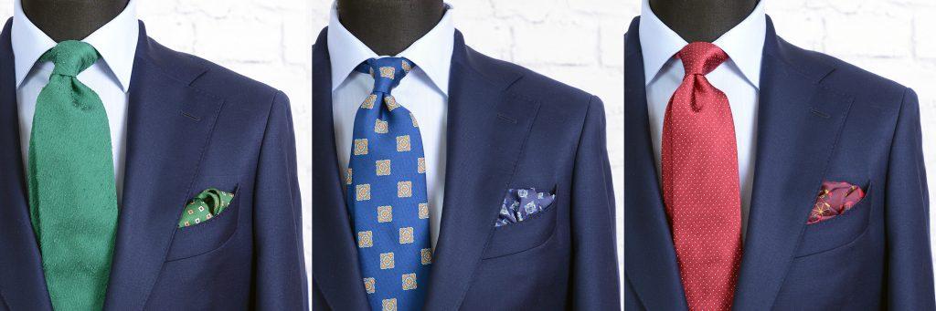 garnitur propozycje stylizacji - kolorowe krawaty i poszetki