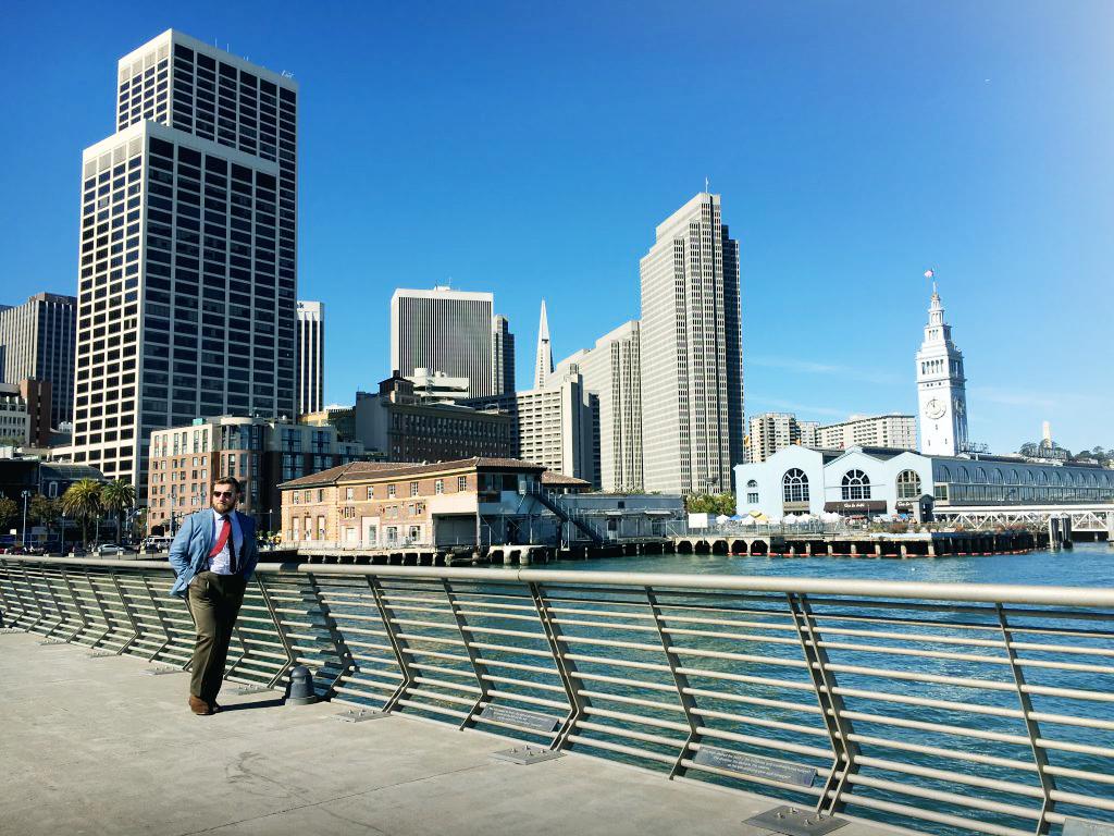 Marynarka MTM z niebieskiej flaneli w San Francisco