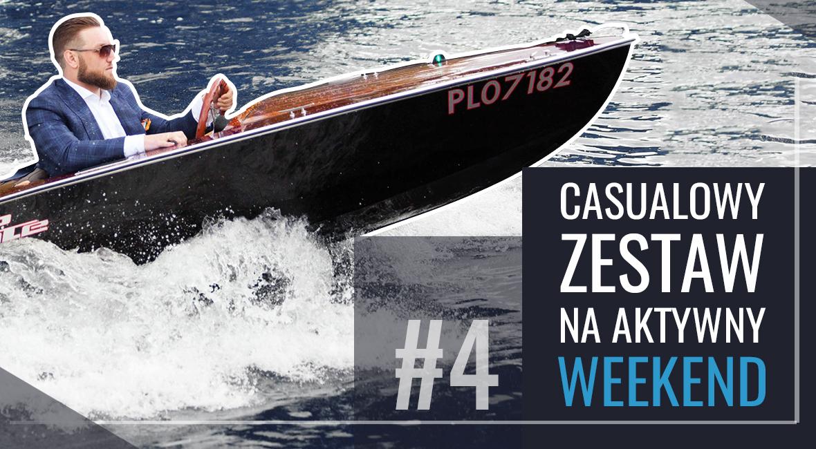 Marynarka casualowa w kratę i chino na łódce – aktywny weekend nad wodą
