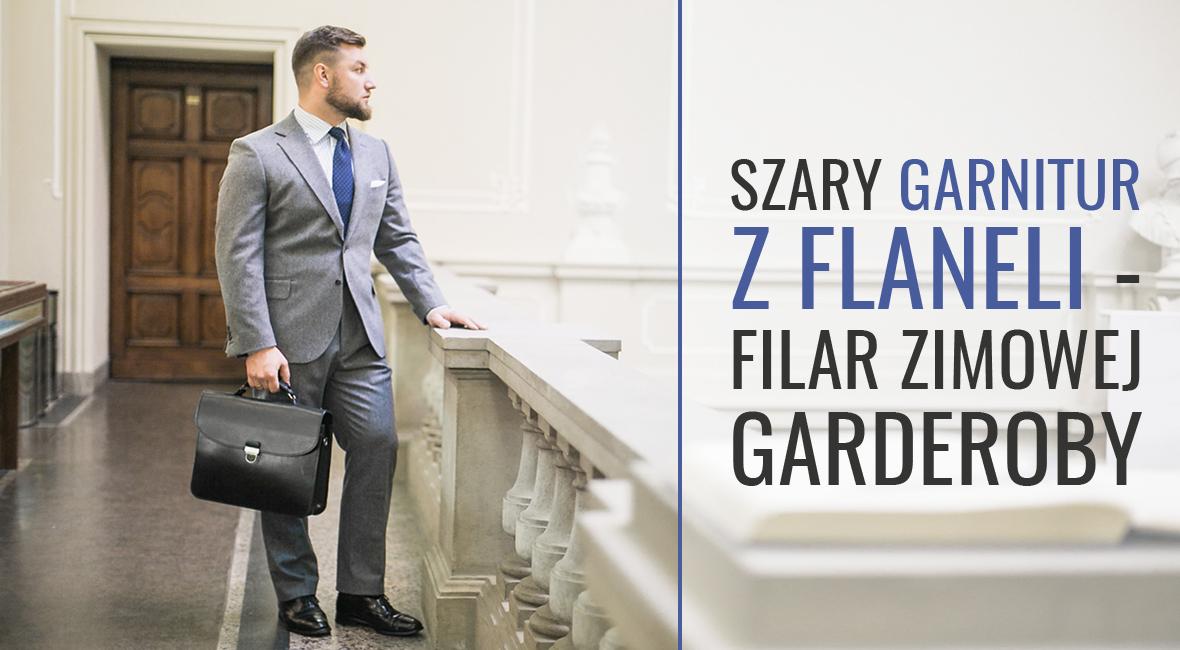 Szary garnitur z flaneli – filar zimowej garderoby