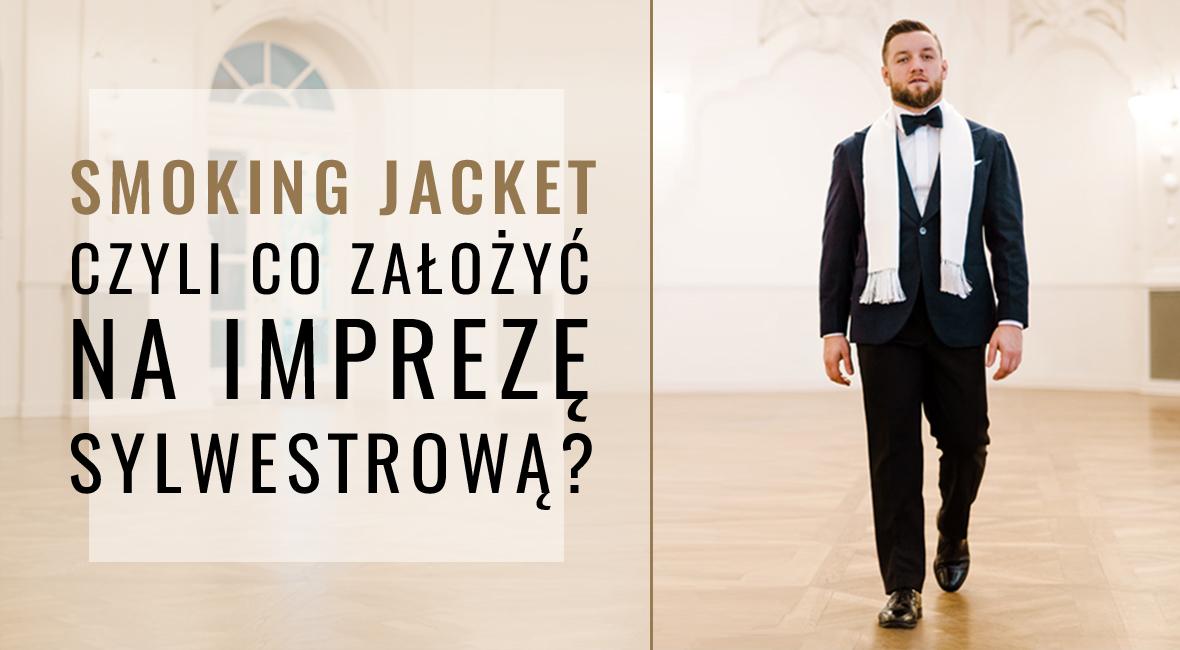 Smoking jacket z jedwabnego aksamitu i czarne spodnie z moheru