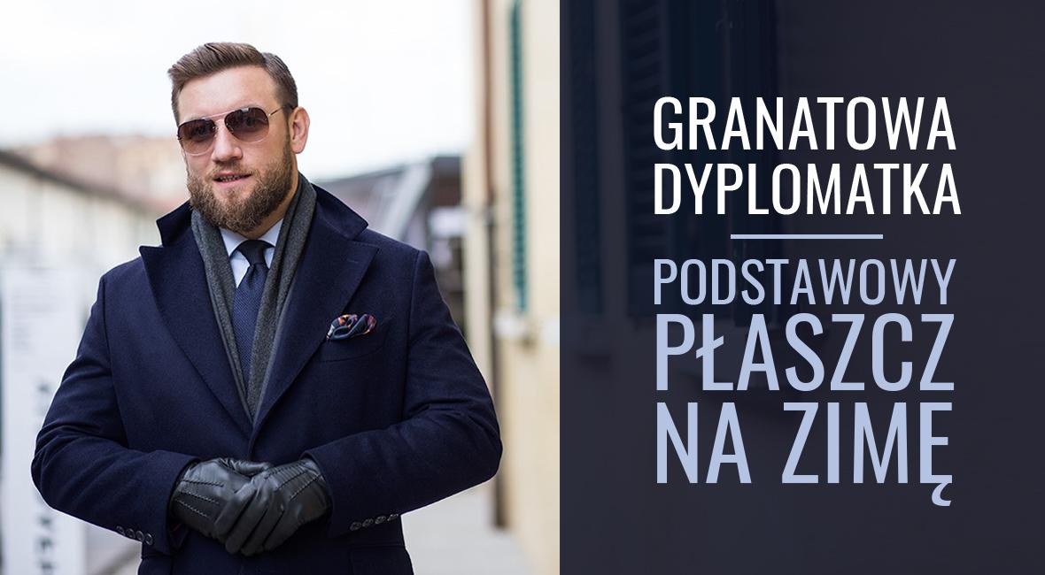 milerszyje.pl, granatowa dyplomatka, plaszcz zimowy, miler menswear