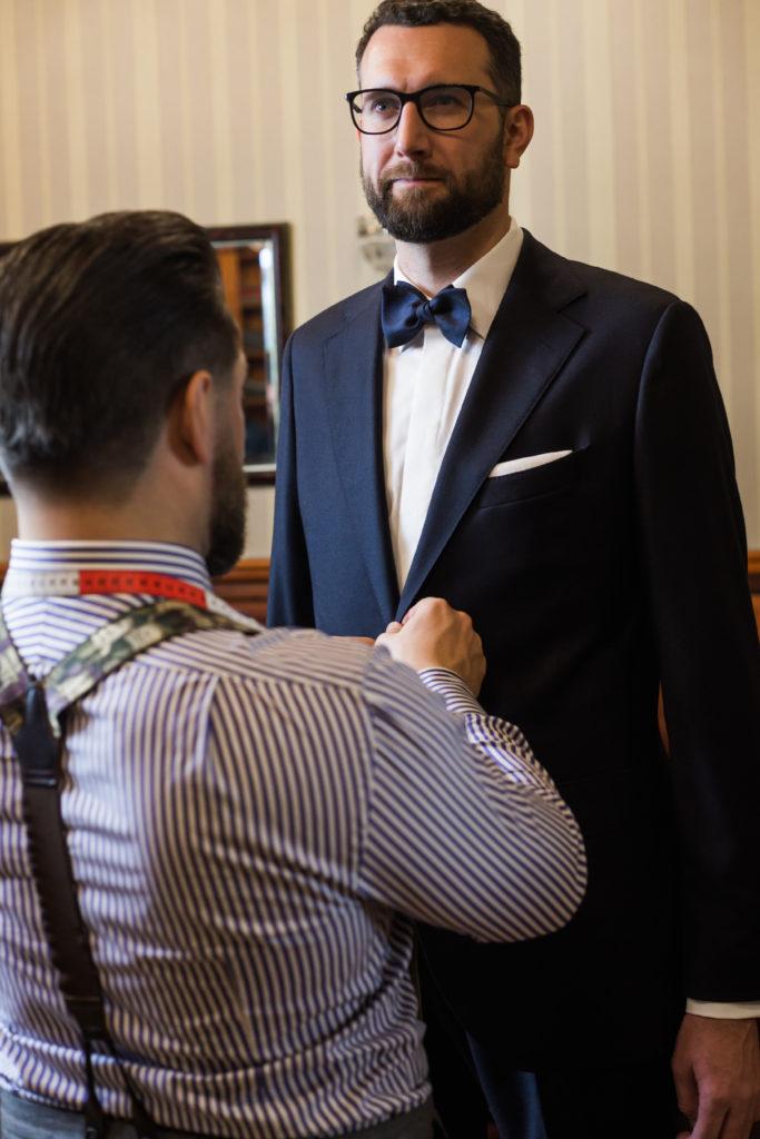 garnitur ślubny na miarę dla wysokiego mężczyzny
